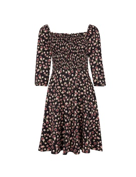 Black Floral Print Gypsy Shirred Dress by Dorothy Perkins
