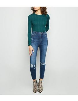 Tall Blue Ripped High Rise Skinny Jeans by New Look
