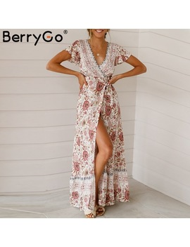 Berry Go Vintage Floral Print Summer Dress Ruffle Sleeve Sash Sexy Long Dress Bohemian Women Dress Holiday Beach Dress Vestidos by Berry Go