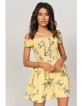 Gemma Yellow Smocked Floral Skater Dress by Tobi