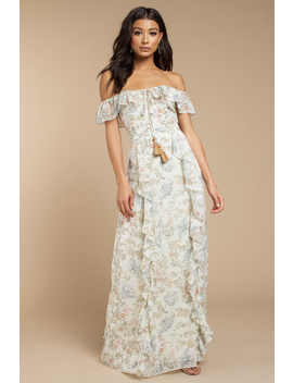 Layna Ivory Multi Off Shoulder Ruffle Maxi Dress by Tobi