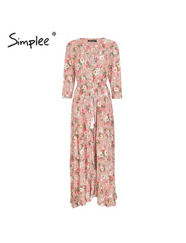 Simplee Boho Chic Maxi Summer Dress Women Elastic Causal Button Beach Long Dress Female Spring Print Vestidos Dress Robe Femme by Simplee