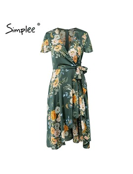 Simplee Elegant Floral Print Satin Women Dress Wrap V Neck High Waist Summer Dresses Sexy Bow Tie Green Casual Female Vestidos by Simplee