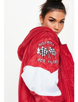Red Padded Racing Parka Jacket by Missguided