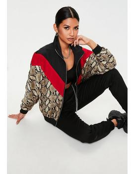 Tall Black Multi Snake Colourblock Windbreaker Jacket by Missguided