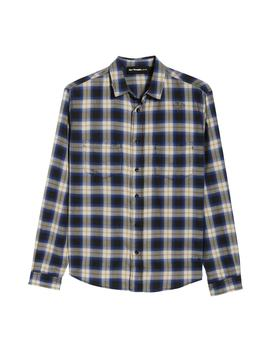 Classic Fit Distressed Plaid Shirt by The Kooples