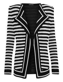 Striped Jacquard Knit Blazer by Balmain