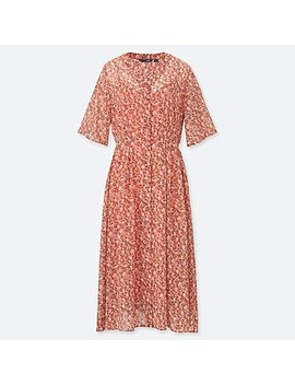 Women Studio Sanderson For Uniqlo Chiffon Printed Short Sleeve Dress (Online Exclusive) by Uniqlo
