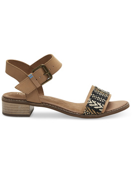 Honey Leather Geometric Woven Women's Camilia Sandals by Toms