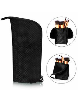 Makeup Brush Holder Organizer Bag Professional Artist Brushes Travel Bag Stand Up Makeup Cup Waterproof Dust Proof Brush Storage Pouch Case (Black) by Tanto