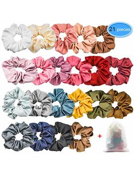 Eaone 21 Colors Hair Scrunchies Satin Elastic Ties Hair Bands Scrunchy Vintage Ponytail Holder Headbands For Women Girls, 21 Pieces by Eaone