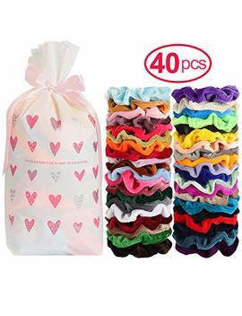 Mandydov 40pcs Hair Scrunchies Velvet Elastic Hair Bands Scrunchy Hair Ties Ropes 40 Pack Scrunchies For Women Or Girls Hair Accessories   40 Assorted Colors Scrunchies by Mandydov