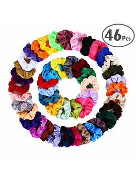 Hair Scrunchies Velvet Elastic Hair Bands Scrunchy Hair Ties Ropes Scrunchie For Women Or Girls Hair Accessories   46 Assorted Colors Scrunchies … by Blesseza