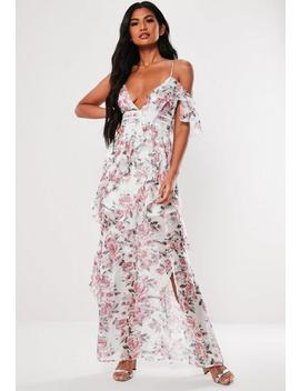Pink Floral Print Ruffle Maxi Dress by Missguided