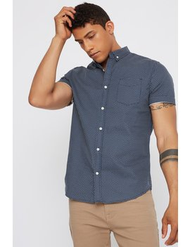 Polka Dot Textured Button Up Short Sleeve Shirt by Urban Planet
