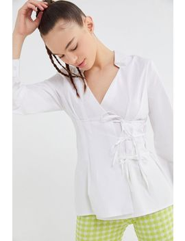 Uo Poplin Tie Front Wrap Shirt by Urban Outfitters