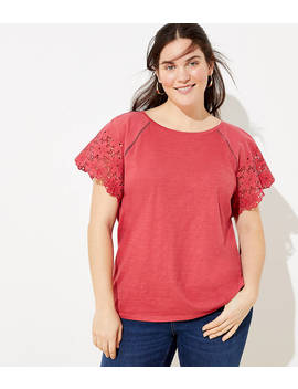 Loft Plus Eyelet Raglan Sleeve Tee by Loft