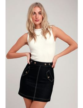 Make Me Smile Black Mini Skirt by Moon River
