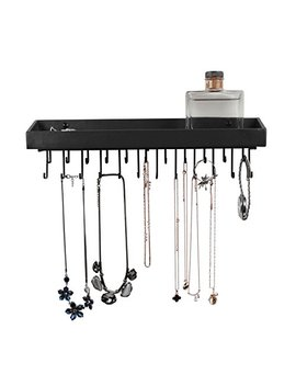 Jack Cube Hanging Jewelry Organizer Necklace Hanger Bracelet Holder Wall Mount Necklace Organizer With 23 Hooks(Black)   :Mk208 A (14.37 X 2.95 X 3.86 Inches) by J Jackcube Design