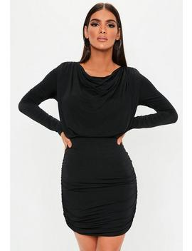 Black Slinky Ruched Mini Dress by Missguided
