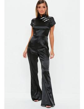 Black Satin Flared Jumpsuit by Missguided