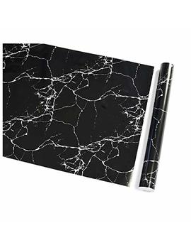 """Black Marble Contact Paper 17.71""""X 393.7""""Decorative Self Adhesive Wallpaper Peel And Stick Countertops Contact Paper Film For Home Kitchen Furniture Removable Waterproof Stain Resistant Matte by Practical Ws"""