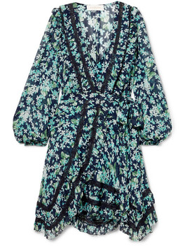 Moncur Lace Trimmed Floral Print Wrap Dress by Zimmermann