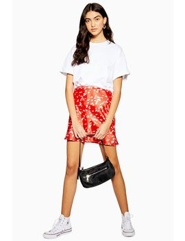 Red Spot Satin Bias Mini Skirt by Topshop