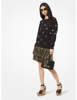 Butterfly Embroidered Cotton Terry Sweatshirt by Michael Michael Kors