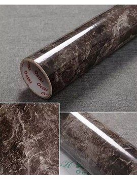 "Yancorp 17.9""X78.7"" Marble Contact Paper 1.49ft X 6.56ft Removable Wallpaper Film Self Adhesive Granite Sticker Kitchen Peel Stick Backsplash Marble Tile Countertop Furniture Shelf (Big, Black Brown) by Yancorp"