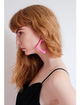 Vintage 80s Pink Geometrical Big Hoops Statement Earrings by Cheree Cheree