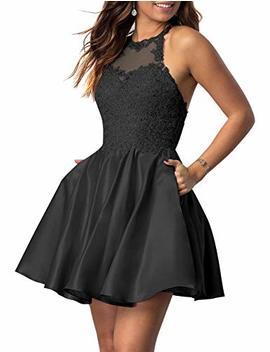 Na Xy Juniors Halter Sleeveless Applique Beaded Short Homecoming Dresses With Pockets by Na Xy