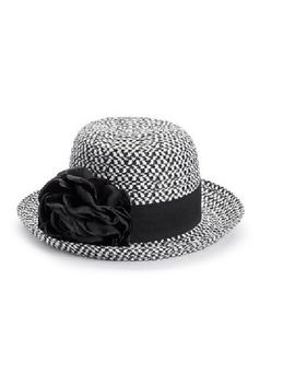 Apt 9 Black & White Women's Fedora Straw Cloche Hat W/ Removable Floral Pin by Apt 9