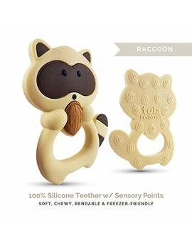 Teething Toys And Teethers By Tulamama. Bendable & Freezer Friendly. Highly Recommended By Moms. 100 Percents Silicone (Similar To Nipples & Pacifiers), Bpa & Phthalates Free, Fda Compliant. Raccoon by Tulamama