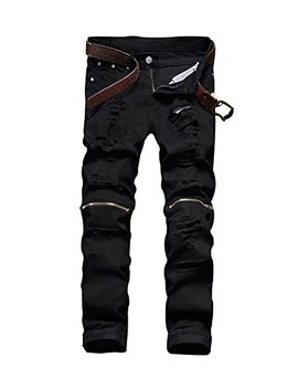 Men's Slim Fit Pencil Pants Vintage Zipper Denim Distressed Stretch Ripped Jeans by Norame