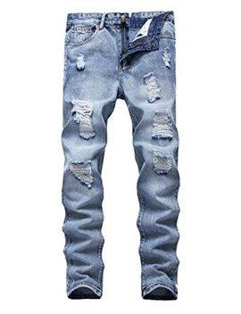 Fredd Marshall Men's Skinny Slim Fit Ripped Distressed Stretch Jeans Pants by Fredd Marshall
