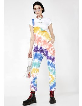 Trippy Delight Tie Dye Overalls by Dolls Kill