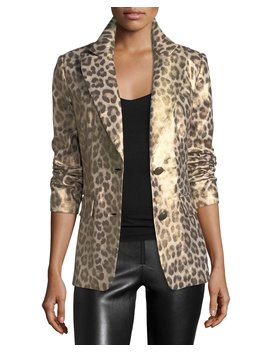 Leopard Print Coated Blazer by Berek