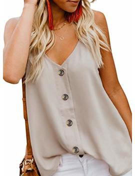 Farysays Women's Casual V Neck Button Down Strappy Cami Tank Tops Summer Sleeveless Shirts Blouses by Farysays
