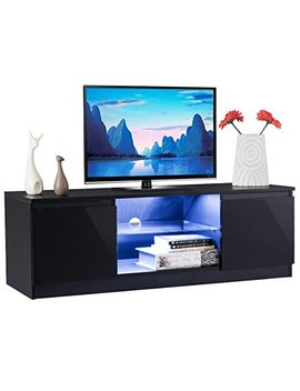 Tangkula Tv Stand Modern High Gloss Media Console Storage Cabinet Entertainment Center With Led Light, Shelves, And Cabinets (Black) by Tangkula
