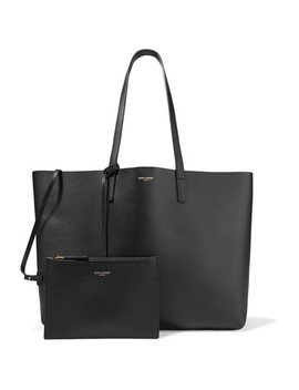 East West Large Shopping Black Calfskin Leather Tote by Saint Laurent
