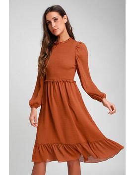 Whenever I'm With You Rust Orange Smocked Long Sleeve Midi Dress by Lulus