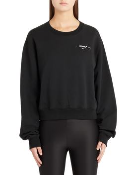 Hanna Leaves Crop Crewneck Sweatshirt by Off White