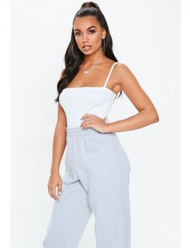 White Straight Neck Strappy Ribbed Bodysuit by Missguided