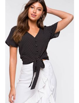 Dotted Tie Front Blouse by A'gaci