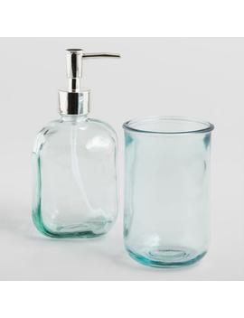 Aqua Recycled Glass Bath Accessories Collection by World Market