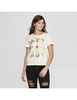 Women's Short Sleeve Flower Chart Graphic T Shirt   Fifth Sun (Juniors')   White by Fifth Sun