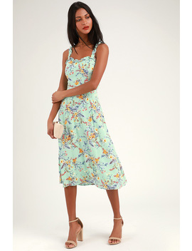 Sunny Meadow Sage Green Floral Print Tie Back Midi Dress by Lulus