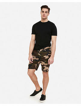 Slim 9 Inch Camo Flat Front Hyper Stretch Shorts by Express