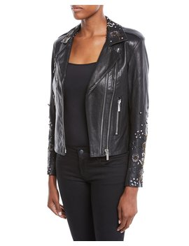Oceane Zip Front Lambskin Leather Jacket W/ Sequin Embroidery by Nour Hammour